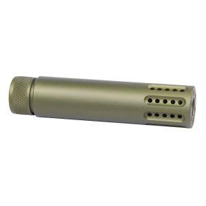 AR-15 Cal Slip Over Barrel Shroud With Multi Port Muzzle Brake (Anodized Green)