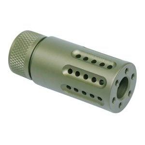 AR-15 Micro Slip Over Barrel Shroud With Multi Port Muzzle Brake (Anodized Green)