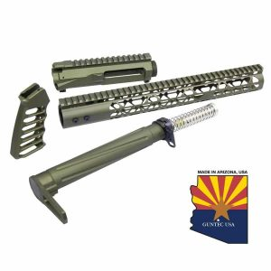AR-15 Skeletonized Airlite Series Complete Furniture Set W/ Matching Upper Receiver (Anodized Green)