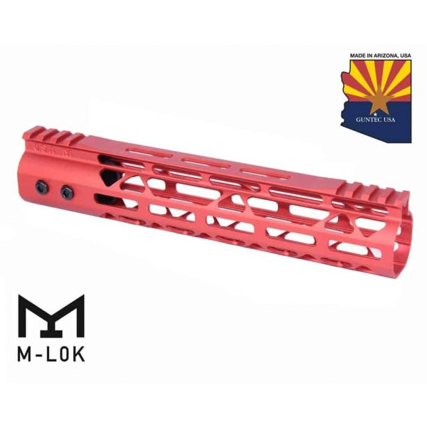 """10"""" Mod Lite Skeletonized Series M-LOK Free Floating Handguard With Monolithic Top Rail (Anodized Red)"""