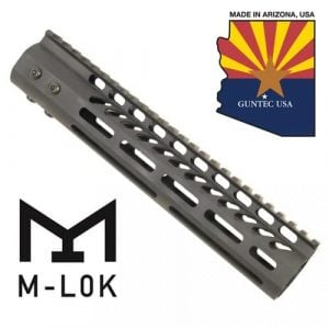 "10"" Ultra Lightweight Thin M-LOK System Free Floating Handguard With Monolithic Top Rail (Anodized Black)"