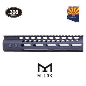 "10"" Ultra Lightweight Thin M-LOK System Free Floating Handguard With Monolithic Top Rail (.308 Cal) (Anodized Black)"