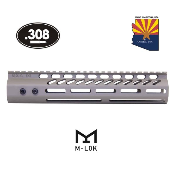 """10"""" Ultra Lightweight Thin M-LOK System Free Floating Handguard With Monolithic Top Rail (.308 Cal) (Flat Dark Earth)"""