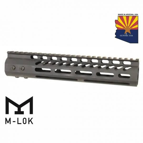 """10"""" Ultra Lightweight Thin M-LOK System Free Floating Handguard With Monolithic Top Rail (Anodized Black)"""