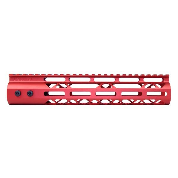 """10"""" Air Lite M-LOK Free Floating Handguard With Monolithic Top Rail (Anodized Red)"""