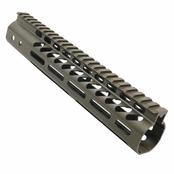 """10"""" Ultra Lightweight Thin M-LOK System Free Floating Handguard With Monolithic Top Rail (OD Green)"""