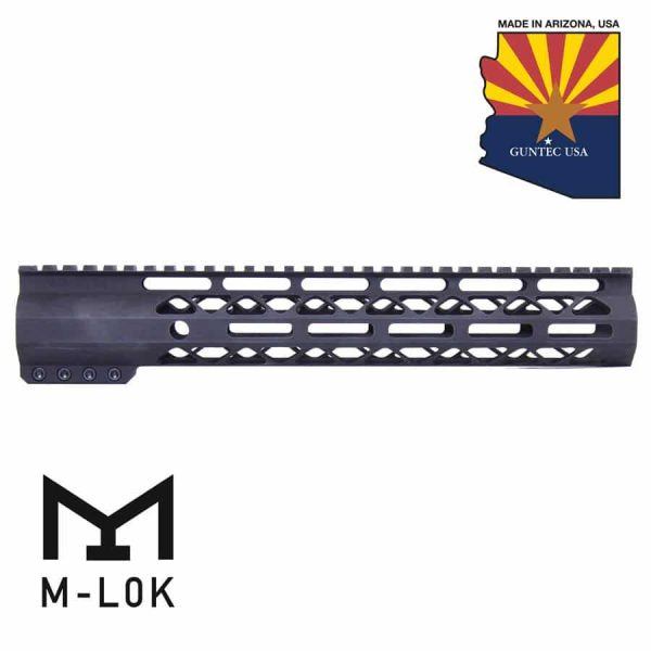 """12"""" AIR-LOK Series M-LOK Compression Free Floating Handguard With Monolithic Top Rail (Anodized Black)"""