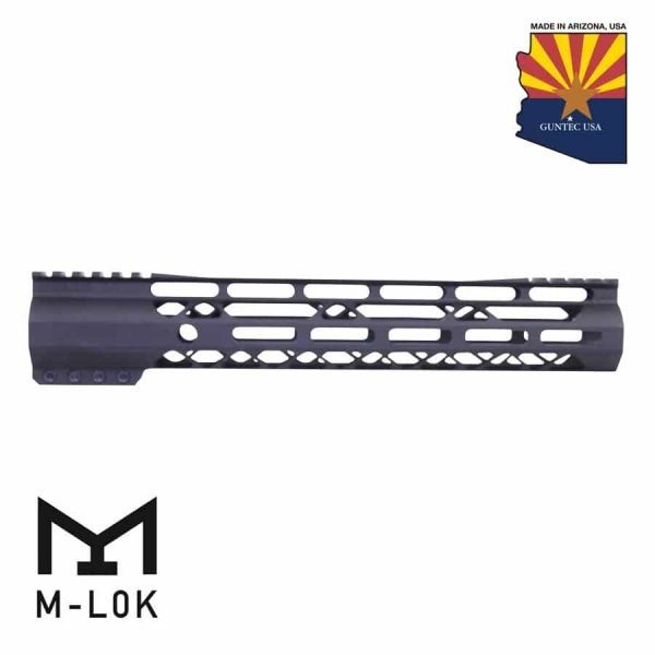 """12"""" AIR-LOK Series M-LOK Compression Free Floating Handguard With Monolithic Top Rail (Gen 2) (Anodized Black)"""