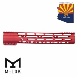 """12"""" AIR-LOK Series M-LOK Compression Free Floating Handguard With Monolithic Top Rail (Gen 2) (Anodized Red)"""
