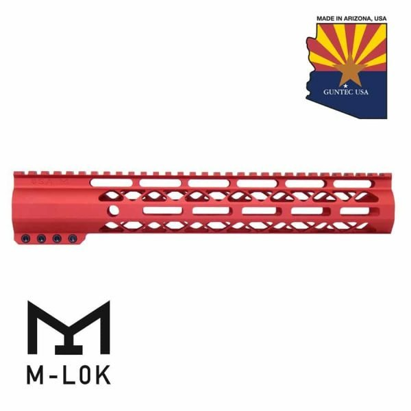"""12"""" AIR-LOK Series M-LOK Compression Free Floating Handguard With Monolithic Top Rail (Anodized Red)"""