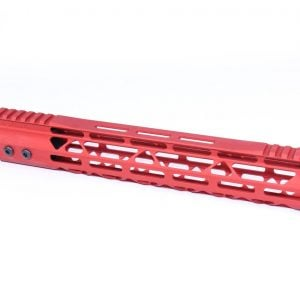 """12"""" Mod Lite Skeletonized Series M-LOK Free Floating Handguard With Monolithic Top Rail (Anodized Red)"""
