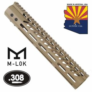 """12"""" Ultra Lightweight Thin M-LOK System Free Floating Handguard With Monolithic Top Rail (.308 Cal) (Flat Dark Earth)"""
