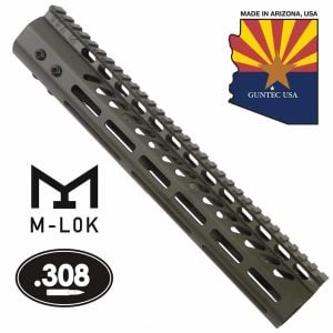 """12"""" Ultra Lightweight Thin M-LOK System Free Floating Handguard With Monolithic Top Rail (.308 Cal) (OD Green)"""