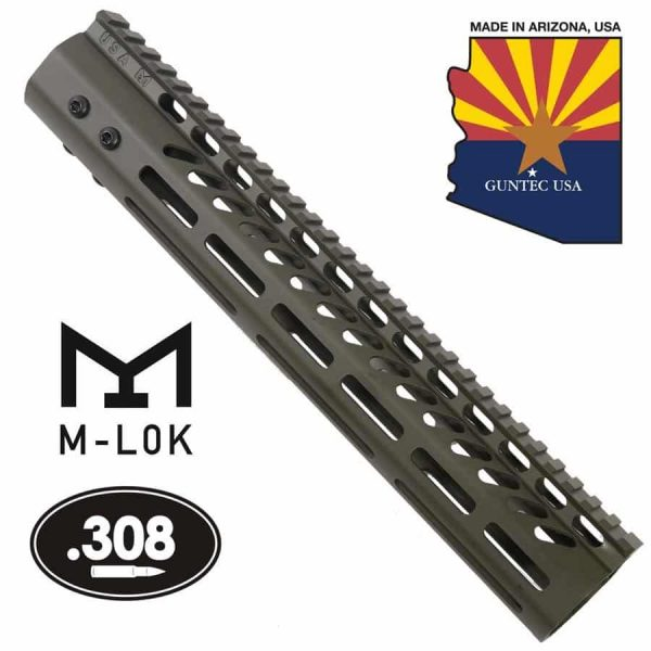 "12"" Ultra Lightweight Thin M-LOK System Free Floating Handguard With Monolithic Top Rail (.308 Cal) (OD Green)"