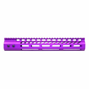 """12"""" Ultra Lightweight Thin M-LOK System Free Floating Handguard With Monolithic Top Rail (Anodized Purple)"""