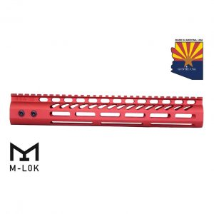"""12"""" Ultra Lightweight Thin M-LOK System Free Floating Handguard With Monolithic Top Rail (Anodized Red)"""
