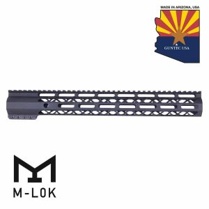 """15"""" AIR-LOK Series M-LOK Compression Free Floating Handguard With Monolithic Top Rail (Anodized Black)"""
