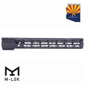 """15"""" AIR-LOK Series M-LOK Compression Free Floating Handguard With Monolithic Top Rail (Gen 2) (Anodized Black)"""