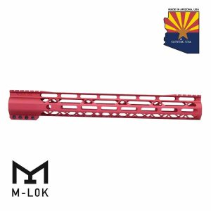 """15"""" AIR-LOK Series M-LOK Compression Free Floating Handguard With Monolithic Top Rail (Gen 2) (Anodized Red)"""