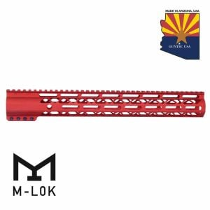 """15"""" Air-LOK Series M-LOK Compression Free Floating Handguard With Monolithic Top Rail (Anodized Red)"""