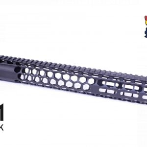 """15"""" Air Lite Series 'Honeycomb' M-LOK Free Floating Handguard With Monolithic Top Rail (Anodized Black)"""