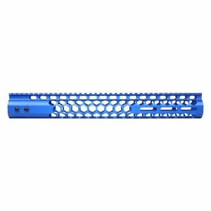 """15"""" Air Lite Series 'Honeycomb' M-LOK Free Floating Handguard With Monolithic Top Rail (Anodized Blue)"""