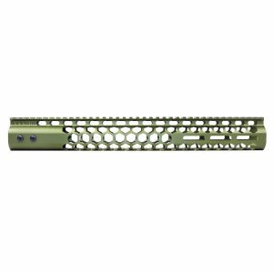 "15"" Air Lite Series 'Honeycomb' M-LOK Free Floating Handguard With Monolithic Top Rail (Anodized Green)"