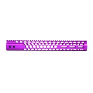 """15"""" Air Lite Series 'Honeycomb' M-LOK Free Floating Handguard With Monolithic Top Rail (Anodized Purple)"""