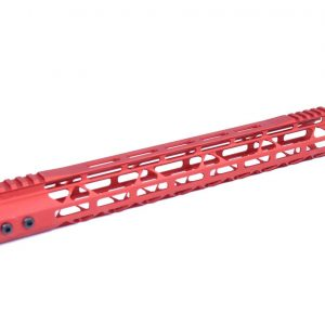 """15"""" Mod Lite Skeletonized Series M-LOK Free Floating Handguard With Monolithic Top Rail (Anodized Red)"""