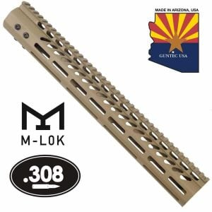 """15"""" Ultra Lightweight Thin M-LOK System Free Floating Handguard With Monolithic Top Rail (.308 Cal) (Flat Dark Earth)"""