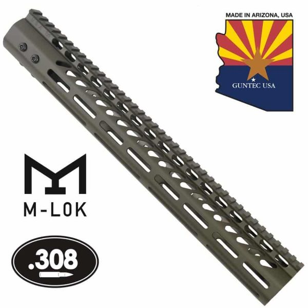 """15"""" Ultra Lightweight Thin M-LOK System Free Floating Handguard With Monolithic Top Rail (.308 Cal) (OD Green)"""
