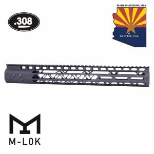 """15"""" Air Lite Series M-LOK Free Floating Handguard With Monolithic Top Rail (.308 Cal) (Anodized Black)"""