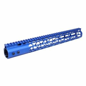 """15"""" Air Lite Series M-LOK Free Floating Handguard With Monolithic Top Rail (Anodized Blue)"""