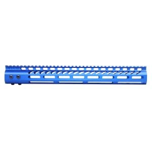 """15"""" Ultra Lightweight Thin M-LOK System Free Floating Handguard With Monolithic Top Rail (Anodized Blue)"""