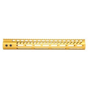 """15"""" Ultra Lightweight Thin M-LOK System Free Floating Handguard With Monolithic Top Rail (Anodized Gold)"""