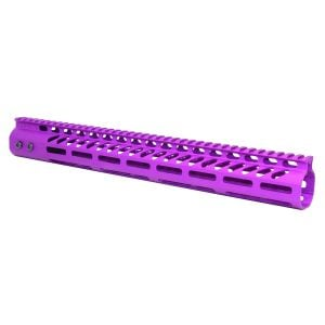 """15"""" Ultra Lightweight Thin M-LOK System Free Floating Handguard With Monolithic Top Rail (Anodized Purple)"""