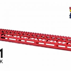 """15"""" Ultra Lightweight Thin M-LOK System Free Floating Handguard With Monolithic Top Rail (Anodized Red)"""