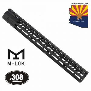 """16.5"""" Ultra Lightweight Thin M-LOK Free Floating Handguard With Monolithic Top Rail (.308 Cal) (Anodized Black)"""