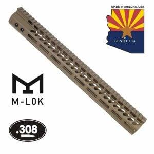 "16.5"" Ultra Lightweight Thin M-LOK Free Floating Handguard With Monolithic Top Rail (.308 Cal) (Flat Dark Earth)"