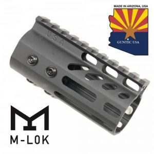 """4"""" Ultra Lightweight Thin M-LOK Free Floating Handguard With Monolithic Top Rail (Anodized Black)"""