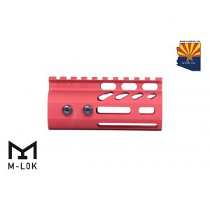 """4"""" Ultra Lightweight Thin M-LOK Free Floating Handguard With Monolithic Top Rail (Anodized Red)"""