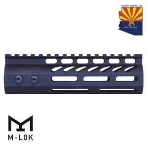 """6.75"""" ULtra Lightweight Thin M-LOK Free Floating Handguard With Monolithic Top Rail (Anodized Black)"""