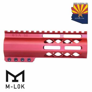 """6"""" AIR-LOK Series M-LOK Compression Free Floating Handguard With Monolithic Top Rail (Anodized Red)"""