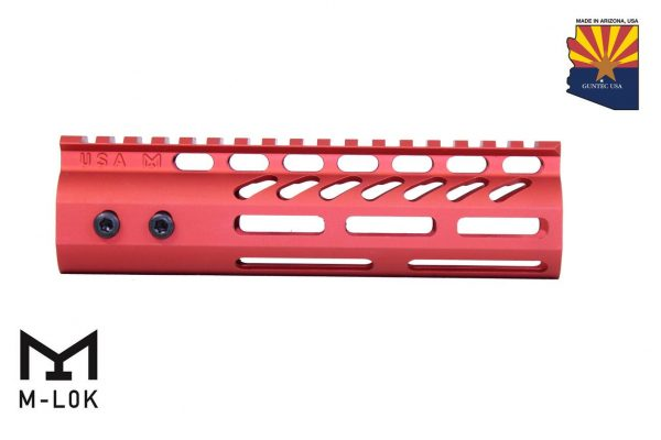 """7"""" Ultra Lightweight Thin M-LOK Free Floating Handguard With Monolithic Top Rail (Anodized Red)"""