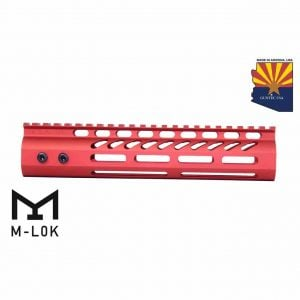 """9"""" Ultra Lightweight Thin M-LOK System Free Floating Handguard With Monolithic Top Rail (Anodized Red)"""
