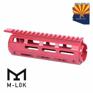 """AR-15 7"""" Aluminum Carbine Length Drop In M-LOK Free Floating Handguard With Monolithic Top Rail (Cerakote Red)"""