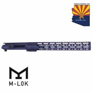 "AR-15 Stripped Billet Upper Receiver & 15"" AIR LOK Series M-LOK Compression Handguard Combo Set (Anodized Black)"