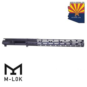 "AR-15 Stripped Billet Upper Receiver & 15"" Mod Lite Skeletonized Series M-LOK Handguard Combo Set (Anodized Black)"