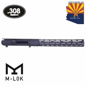 "AR .308 Cal Stripped Billet Upper Receiver & 15"" Mod Lite Skeletonized Series M-LOK Handguard Combo Set (Anodized Black)"