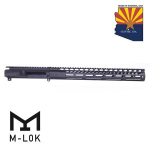 "AR-15 Stripped Billet Upper Receiver 15"" Ultralight Series M-LOK Handguard Combo Set (Anodized Black)"